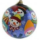 Snow More Room - Snowman Blue Ball, Christopher Radko Christmas Ornament, 2001, 01-0038-0, Multicolored clothes & snowflakes, Mint with Tag
