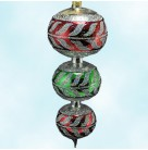 Corinthian Drop - Silver Red Green, Radko Christmas Ornaments, 1997, 97-399-C, Store Exclusive, 3 Tier,, Mint with Tag