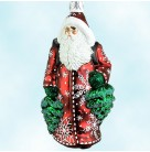 Through The Woods Santa -  Red & Pearl Snowflakes, Patricia Breen Christmas Ornament, 2002, 2137, Tees & snowflakes, Mint with Tag