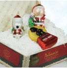 Peanuts Collection, Polonaise Christmas Ornament Set, AP229, 2000, Charlie Brown, Snoopy, 50th Anniversary, doghouse, Mint with Tag, Box