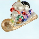 Peanuts Gang on Toboggan, Kurt Adler -Polonaise Christmas Ornaments, 2001, AP1027, Peanuts, Lucy, Charlie Brown, Snoopy, Mint with Tag, Box