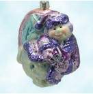 Rainbow Flying Snowman - Pastel, Slavic Treasures Christmas Tree Ornaments, 2002, 02-702, Purple, wings, Mint with Tag, Box