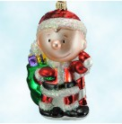 Charlie Brown Santa, Polonaise Christmas Ornaments, 1999, AP1212 AP 1212,  Peanuts Collection, Present bag, candy cane, Mint with Tag, Box