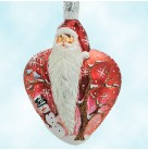 True Love Santa - Two Turtle Doves Red, Patricia Breen Christmas Ornaments, 2003, 2355, Heart & tree, Valentines, Mint with Tag