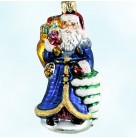 Petite Vintage Sapphire Santa, Radko Christmas Ornament, 1999, 99-989-0, Gold bag & tree, presents, Christopher, Mint with Tag, Box