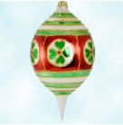 Emerald Isle Drop, Christopher Radko Christmas Ornament, 1997, 97-204-0,  Red & Green with Clover, St. Patricks, Mint with Tag