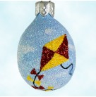 Miniature Egg -  Go Fly a Kite, Patricia Breen Christmas Ornament, 2004, 2451, Restricted Quantities, Red & yellow w/dangling ribbons, Easter, Mint with Tag