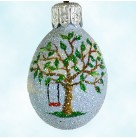 Miniature Egg - Tree Swing, Patricia Breen Christmas Ornaments, 2003, 2365F, Tree w/ red swing, blue sky, Easter, Mint