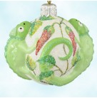 For James Twice - Chili Peppers, Patricia Breen Christmas Ornaments, 2006, 2581, Dallas Neiman Marcus, 2 green chameleons, Mint with Tag