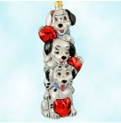 Puppy Pole - Disney 101 Dalmatians, Christopher Radko Christmas Tree Ornaments, 1997, 97-DIS-1, Ltd 5000, Valentine's day totem, Mint with Tag, Box