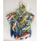 Aloha Shirt - Fish on varigated blue, Christopher Radko Christmas Ornament, 2003, 1010782, Macy's exclusive, Asst of 3, Mint