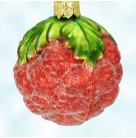 Sugar Berry - Red, Radko Ornaments, 1994, 94-341-0, Glittered and frosted raspberry fruit, leaf cap, Christmas, Mint