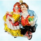 A Christmas Carol - The Fezziwigs, Radko Christmas Ornaments, 2003, 1010311, Ltd 10000,  Dancing, Couple, Mint with Tag, Box