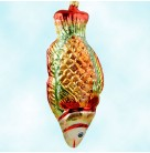 Holy Mackerel, Radko Ornaments, 1995, 95-077-0, Large glittered orange, red, and green fish, Christmas, Mint with Tag