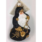 Five Golden Rings Santa - Black, Patricia Breen Christmas Ornaments, 2002, 2224, 12 Days of Christmas Snowflakes, gold trim,, Mint with Tag