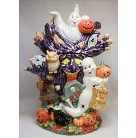 Hoot 'n' Howl Cookie Jar Centerpiece, Christopher Rakdo Home For The Holidays, 2002, 02-6304-0, Halloween tree stump spooks, Mint in Box