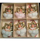 Glistening Angels Set of 6 - Mica Cloud & Framed by Golden Star, West Germany, 1950s, 2320-10, Hard Plastic, Mint in Box
