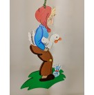 Country Boy Carrying White Goose Wooden Christmas Ornament,  Erzgebirge Holzkunst, 1950s, [model number], Red cap, blue shirt, Mint