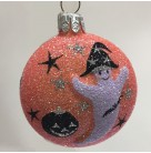 Ghostly Medallion - Orange, Patricia Breen Christmas Ornaments, 2003, 2226, Halloween, Jack O' Lantern; stars, Mint