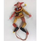 Pull Sring Wooden Jester Ornament - Red & Yellow, Austrian Wooden Ornament, 1970s, [No model number], Owl & tennis racket, Very good vintage condition