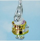 Queens Hare - Alice in Wonderland, Christopher Radko  Christmas Ornament, 1994, 94-11-0, Rabbit in gold tunic with red hearts, Mint with Tag