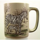 Coffee Mug - African Zebra, Otagiri Pottery, 1960s, [No model number], Vintage, Beige, brown, black, Mint