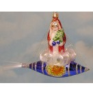 Rocket Rider - Reflector Blue Caged SpaceS Ship, Rocket Rider o Christmas Ornament, 2003, 1010582, German, angel hair, Mint with Tag