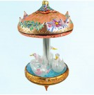 Carousel of Dreams - Swans, Radko Christmas Ornaments, 1999, 99-SP-49, Italian, Ltd 2500, flowers, gold, Mint with Tag, Box
