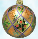 Victorian Strawberry Ball, Christopher Radko Christmas Ornament, 1999, 99-326-0, Peach & green diamonds, Mint